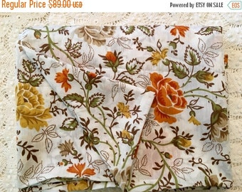 HOLIDAY SALE - For Fall Vintage Duvet Cover - Autumn Colors - Rusty Orange Gold Brown Green - Duvet Cover - Full Size - Fall Bedding - Roses