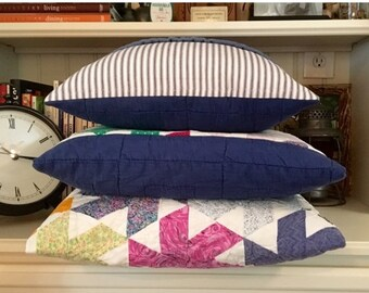 BIG SALE - Vintage Quilt & Blue Ticking Pillow Cover Patchwork Pillow Cover - Hand Stitched  -Stripe Country Quilt Pillow Cover - Farmhouse