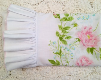 Vintage King Size Pillowcases with Pink Roses and Ruffle - Pink Green & Blue Floral on White - Soft King Cases - Pink Roses