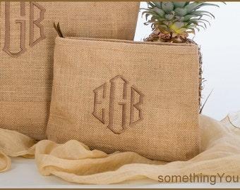 Monogram Burlap MakeUp Bag - Customized Jute Makeup Case, bridesmaids burlap bags, Bridemaid gifts, customized wedding favors