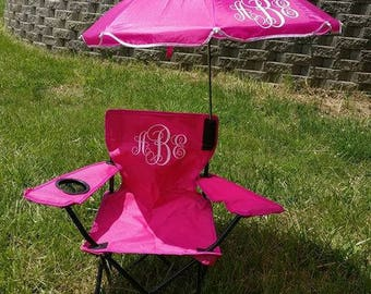 Beach Camping Chair Fold able Travel Detachable Umbrella with personalization monogram toddler