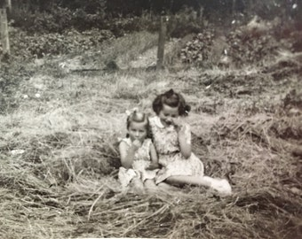 Little Girls On The Farm; Candid Collection of Two; Black and White; Collage Supply; Art