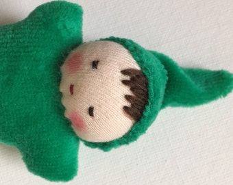 emerald green, germandolls, Waldorf pocket doll, gnome baby