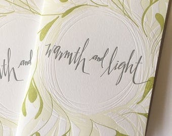 Warmth and Light Letterpress Cards