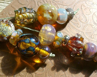 SRA Lampwork Beads by Catalinaglass Designer Set Silver Glass