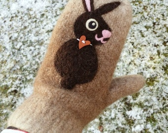 SALE Felted mittens light dark brown wool hand knit with two needle felted bunny rabbit size medium large