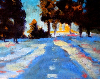 Snow Shadows, Winter Landscape, Oil Painting, 6x8 Canvas, Northwest Scene, Small Original, Trees, Blue, Oregon Sunlight, Wall Decor, Gold