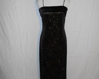 SALE Vintage 90's  stretch stretchy black velvet  dress long maxi   sparkles sparkly      womens women clothing clothes