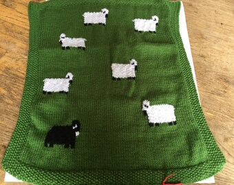 Baby Car Seat Blanket hand knitted Green with sheep