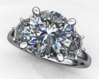 finley ring - 2.7 carat diamond cut round NEO moissanite engagement ring, half moon side stones