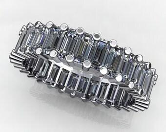 chanel ring - 4.5 carat emerald cut ZAYA moissanite eternity band