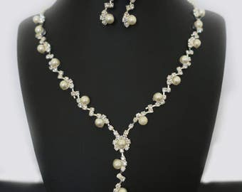 Bridal Jewellery Set Wedding Jewelry Sets for Brides Bridal Necklace and Earrings Bridesmaid Jewelry Set Statement Pearl Rhinestone Y Dainty
