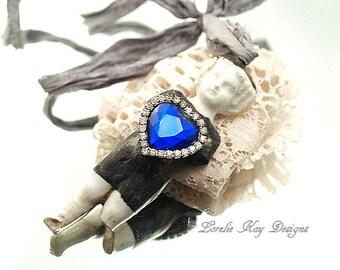 Blue Heart Frozen Charlotte Soldered Ornament Vintage Rhinestone Large Frozen Charlotte Doll