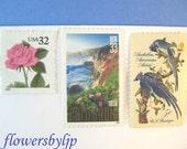 60 sets of the 70-cent California Big Sur - pink rose - blue jays postage stamps for Megan