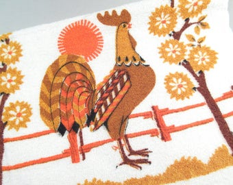 Vintage kitchen towel, rooster towel, rooster kitchen towel, orange and brown, 1970s, retro kitsch kitchen decor, dead stock never used