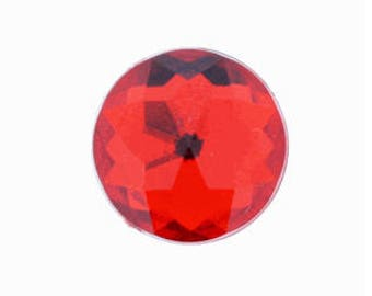 50 Pieces - 20mm Round Acrylic Faceted Gem Rhinestone in Red