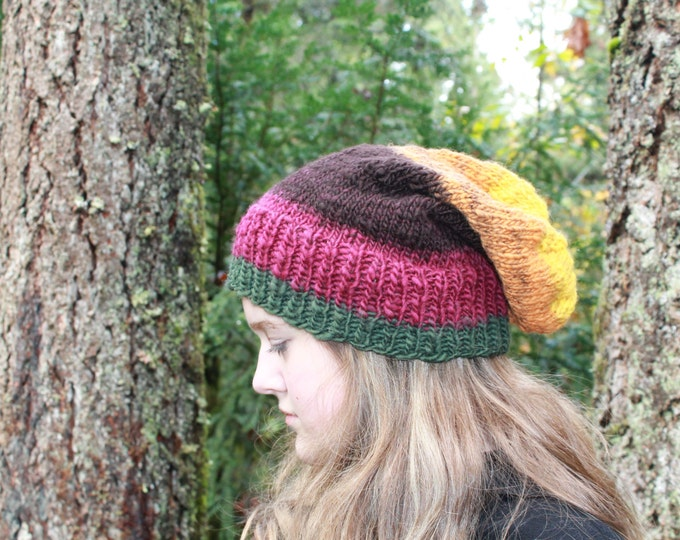 Hand spun and Knit Merino Wool Slouchy Hat.  Cozy and Warm. One of a Kind.
