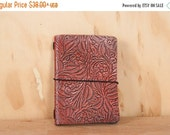 JANUARY SALE Midori Notebook Cover - Leather with tooled floral pattern - red and antique black  - Travelers Notebook Style Moleskine Journa