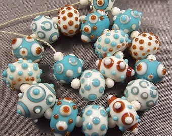 Handmade Lampwork Beads by Mona Sullivan - Southwest - Monaslampwork Glass Precision Dot Beads Ivory Turquoise Saddle Brown Organic Boho