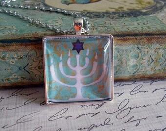 Menorah and Star of David pendant...ready to ship with gift box... religious jewelry, Jewish pendants, Hebraic jewelry, Hanukkah gifts