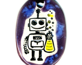 Happy Robot Ceramic Necklace in Purple