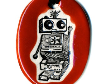 Slot Machine Bot Ceramic Necklace in Red