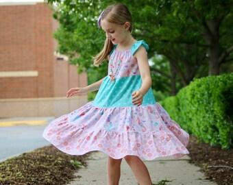 Girls Mermaid Dress - Girls Dress - Girls Mermaid Outfit - Girls Summer Dress - Girls Ruffle Dress - Girls Sundress - Mermaid Outfit