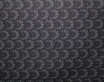 Black and Gray, Sewing Fabric, Cotton, Fabric, Gray Scallop Design, Black Background, Cotton Fabric, Fabric supplies, By The Yard