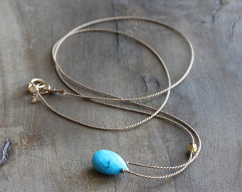 Turquoise necklace - turquoise briolette on beige silk with gold accent bead & 14k gold filled clasp