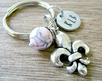 Personalized Fleur De Lis Keychain, french lily keychain, Paris, French Royalty, Stocking Stuffers, initial disc choice, bead choice