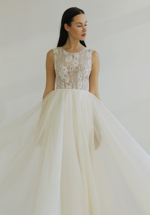 sample SALE One of a Kind Lace and Silk Wedding Dress--
