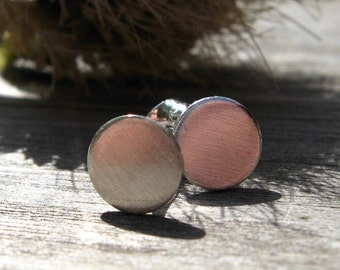 20% OFF Today Brushed Sterling Silver Disc Stud Earrings 6mm