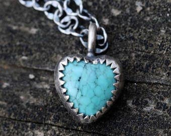 20% OFF Mothers Day Sale Tiny rustic turquoise heart sterling silver necklace