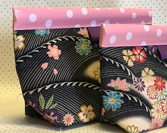 Floral Waves Snappy Pouch - 2 sizes
