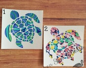 Sea Turtle vinyl decal ~ patterned vinyl, choice of prints, various sizes! Great for tumblers! permanent vinyl sticker