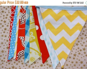 Entire Shop On SALE Circus Bunting, Carnival Themed Ready to Ship Fabric Flag Birthday Party Bunting, Designer's Choice Gender Neutral Banne