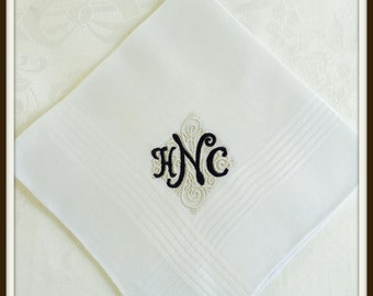 PERSONALIZED EMBROIDERED Monogrammed Man's Handkerchief