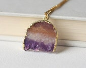 Amethyst Pendant Necklace, Gold Amethyst Slice, Gemstone Slice Necklace, Amethyst Jewelry, February Birthstone, Gold Druzy Necklace