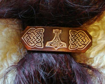 Large brown leather hairclip with hand tooled Viking designs, Thor's hammer. Mjolnir.