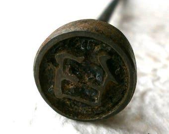 Branding Iron - Metal Stamp - Kanji Stamp - Japanese Vintage Yakin - Chinese Character - Mortar F445