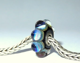 Luccicare Lampwork Bead - Wheel -  Lined with Sterling Silver