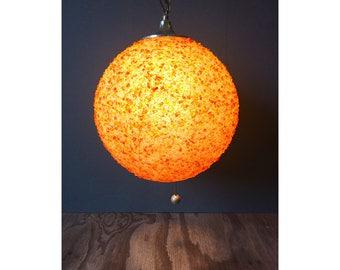 1960s Hanging Globe Lamp - Vintage Fiberglass Pendant Lamp
