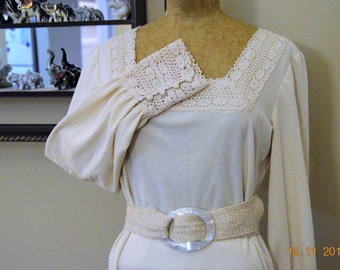 "Ivory 70's Lace Maxi Dress,size 38"" chest, excellent condition,Vintage hand made,Woven Braid Belt with Big Awesome Lucite Belt Buckle"