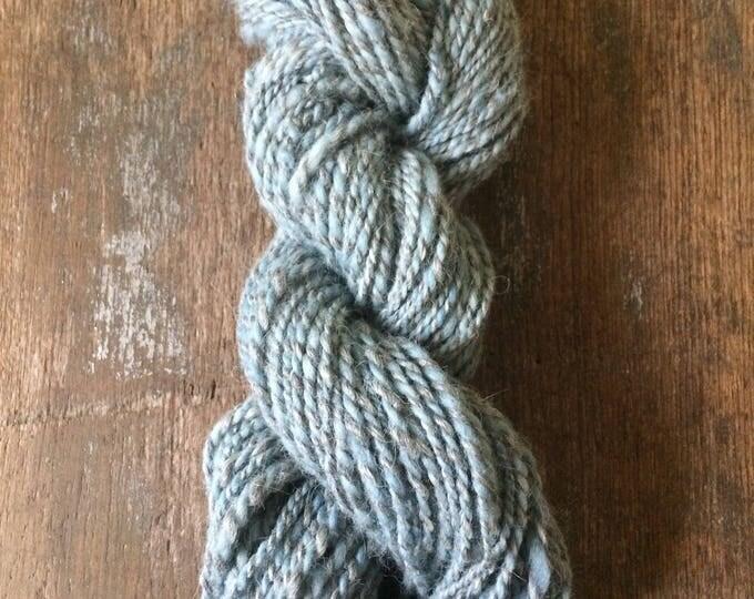 Renegade, 100 yards, aran weight handspun yarn, grey and blue yarn, indigo dyed yarn, two ply yarn rustic handspun yarn
