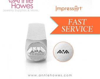 Jewelry Design Stamp Mountains or Triangle and Dot Border Design, 6mm Jewelry Design Stamp for Metal Stamping.