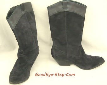 90s URBAN COWGIRL Ankle Boots / size 8 Eu 38 .5 Uk 5 .5 / REBA Black Suede and Leather / Contoured Flat Heel Slouch So Soft