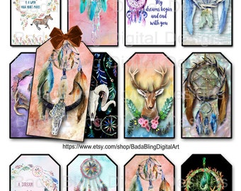 Boho,Tribal, Dreamcatcher, gift tags, INSTANT Download, printable gift tags,boho collage sheets, digital downloads,gypsy, tags,atcs