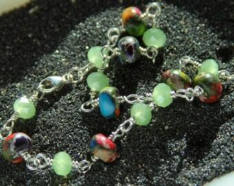 Colorful Jasper bracelet - Bright color jewelry - Stone bracelet - Linked bracelet - Gift for mom - Green bracelet - Multicolor Jewelry