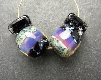 CrazyCatGlass Lampwork Boro Glass Beads Handmade Goddess Pair Stones
