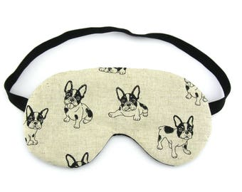 Boston Terrier Dogs On Linen Sleep Eye Mask, Sleeping Mask, Travel Mask, Sleep Mask, Travel Gift, Gift for her